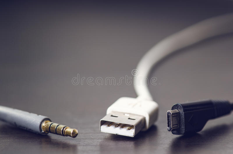 Download Usb, Jack, Charger Cables On A Dark Background.Cable Connector. Technology. Stock Photo - Image: 74105718