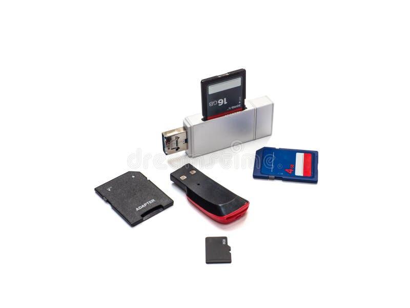 USB-Kaartlezer op witte achtergrond met het knippen van weg wordt geïsoleerd die stock foto
