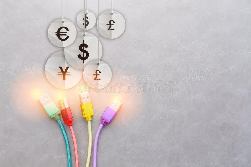 USB kabel z międzynarodowym pieniądze waluty symbolem jpg obraz stock