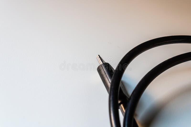 Usb kabla prymka, czarny włącznika drutu zbliżenie zdjęcie royalty free