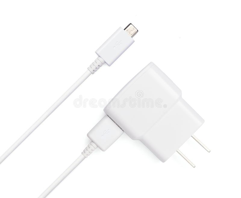 USB kabla prymka z USB władzy wtyczkowym adaptor obraz stock