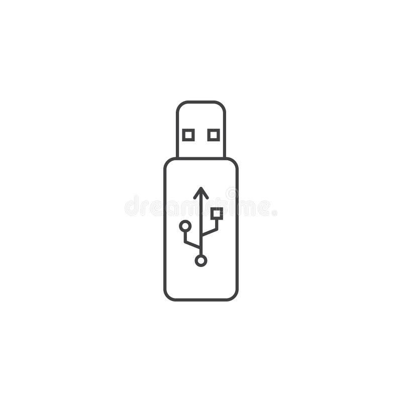 Usb kija cienka kreskowa ikona, błyskowej pamięci konturu loga wektorowy illus ilustracji
