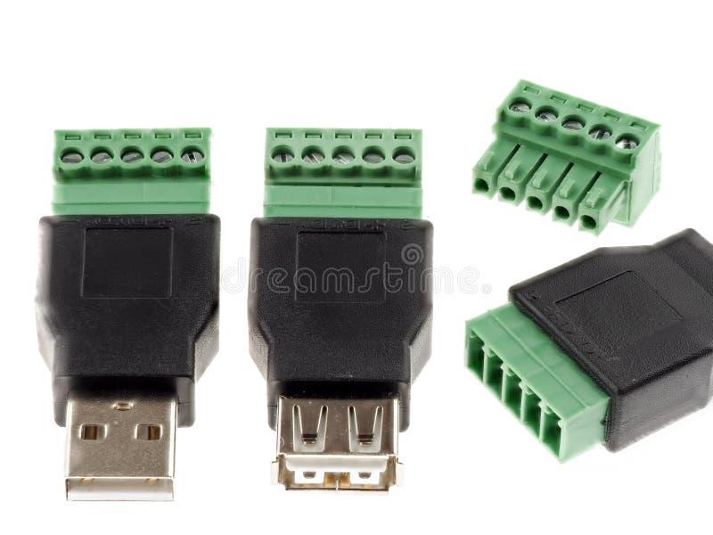 USB kontaktdon med skruvterminaler royaltyfria bilder