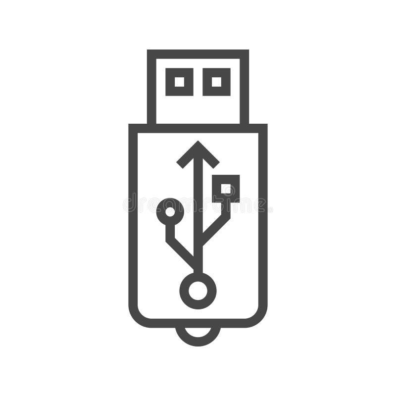USB linje symbol royaltyfri illustrationer