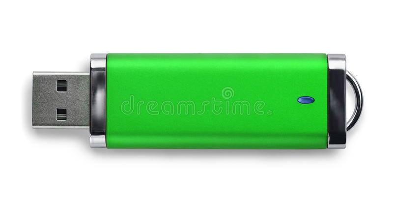 USB memory stick. Green USB memory stick isolated on white royalty free stock image