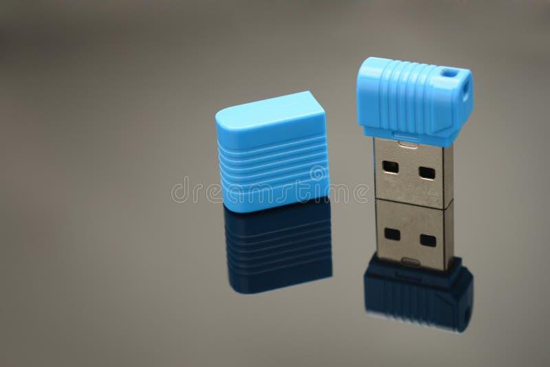USB Memory Stick. Isolated on black background stock images