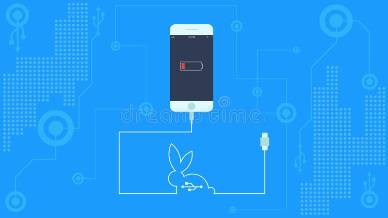 USB met kabel aangesloten aan smartphone vector illustratie