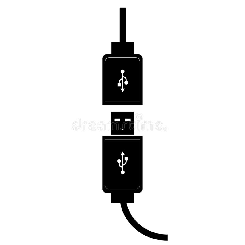 USB micro cable illustration black color in white background. For graphic design stock illustration