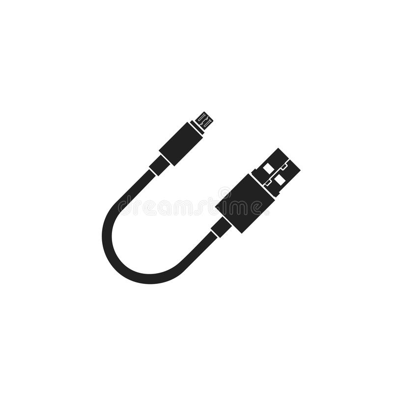 USB and micro usb cable vector icon. USB and micor usb cable flat vector icon on white background stock illustration