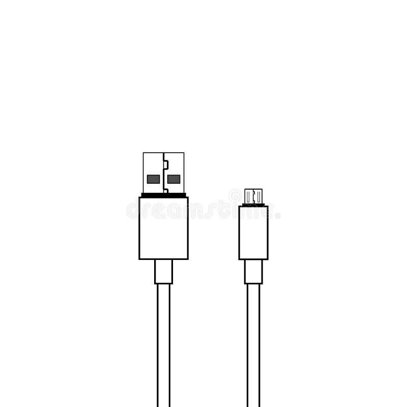 USB och mikrosymbol för usb-kabelvektor vektor illustrationer