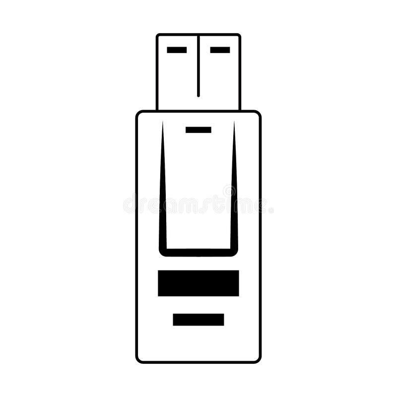 Usb pamięci ikona w czarny i biały royalty ilustracja
