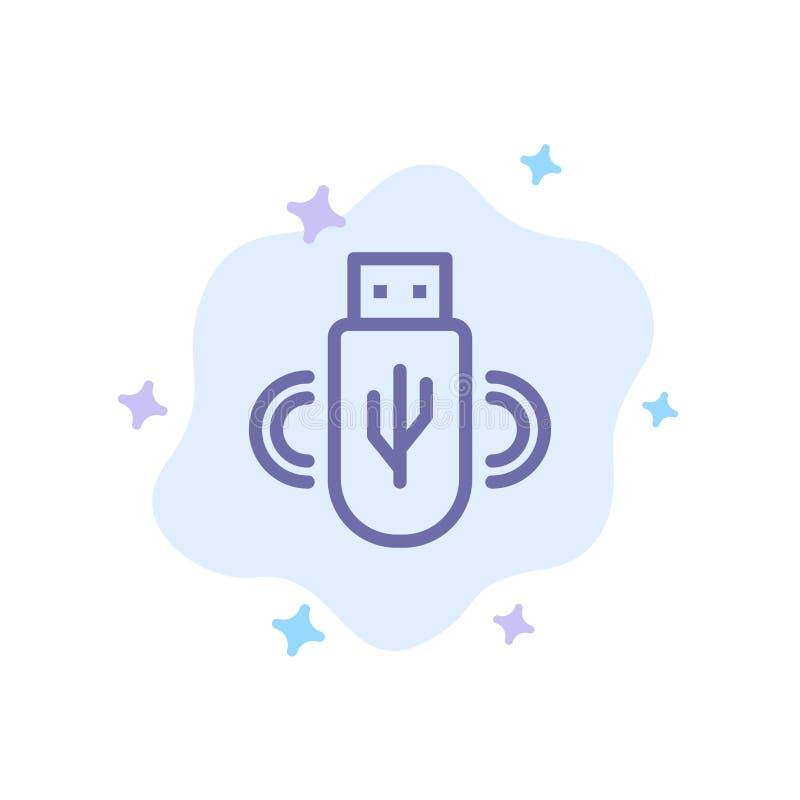 Usb, parte, datos, icono azul del almacenamiento en fondo abstracto de la nube ilustración del vector