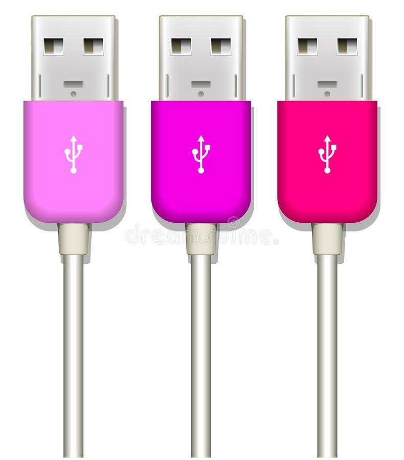 Usb plug. Pink usb plug on white stock illustration