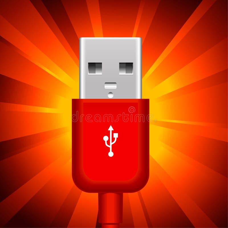 Usb plug. On shining red background royalty free illustration