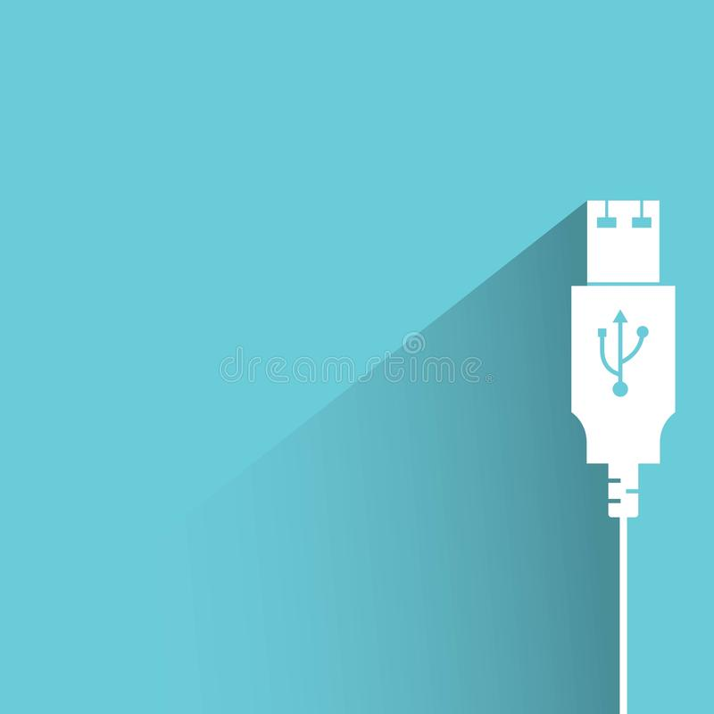 Usb plug. With drop shadow on blue background stock illustration
