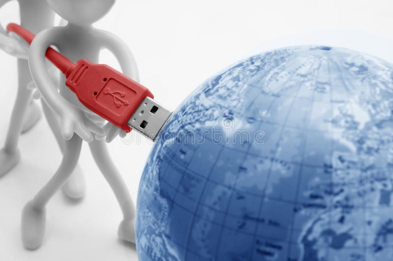 USB plugs into earth. Conceptual royalty free stock images