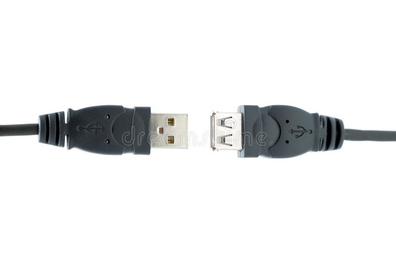USB plugs isolated on a white background. Two USB plugs almost connected isolated on a white background royalty free stock photography