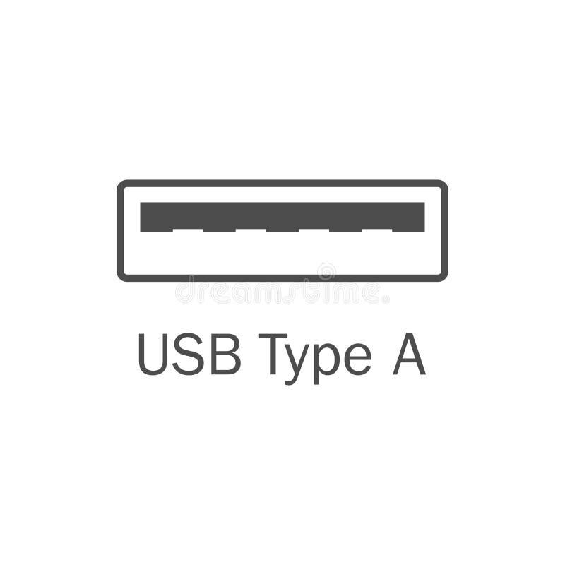 Usb port icon. Usb type A. Vector illustration, flat design. Usb port icon Usb type A stock illustration