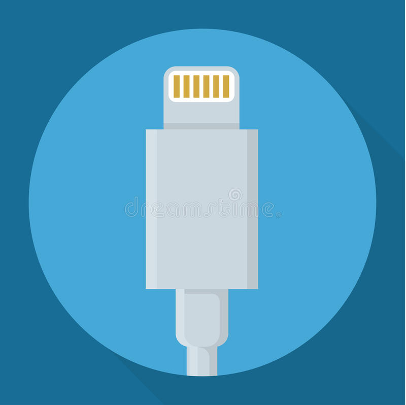 Usb power data cable. Flat design usb power data cable connectors long shadow vector icon vector illustration