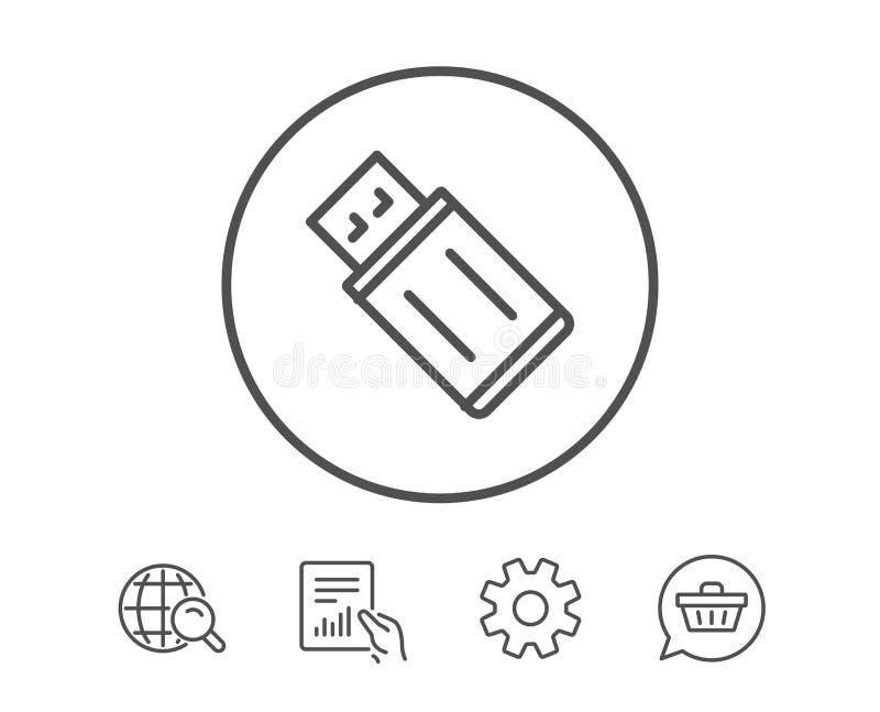 USB prowadnikowej linii błyskowa ikona Pamięć kija znak royalty ilustracja