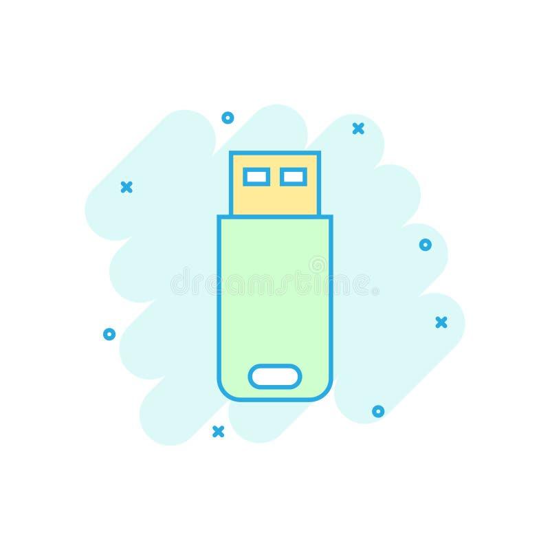 Usb przejażdżki ikona w komiczka stylu Błyskowego dyska kreskówki wektorowa ilustracja na białym odosobnionym tle Cyfrowej pamięc ilustracja wektor