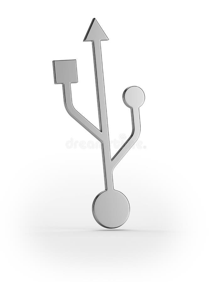 Usb srebny symbol royalty ilustracja
