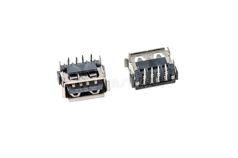USB stålar, propp, hålighet, kontaktdon för bärbar datoranteckningsboken, gemensam manöverenhetschip royaltyfri bild