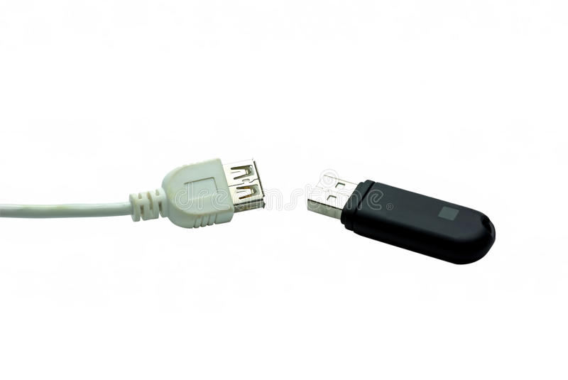 USB stick. And cable on a white background stock image