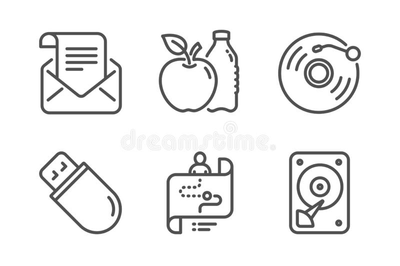 Usb stick, Vinyl record and Journey path icons set. Mail newsletter, Apple and Hdd signs. Vector royalty free illustration