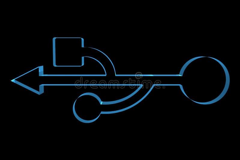 USB Symbol 3D xray blue