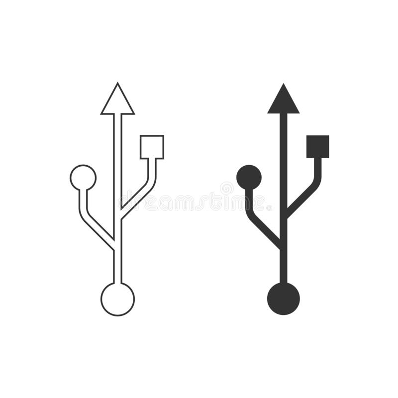 USB Symbol, icon. Vector illustration, flat design. USB Symbol, icon Vector illustration flat royalty free illustration