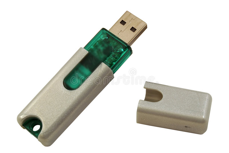 USB Thumb Drive. A close-up of a USB thumb drive isolated on a white background royalty free stock photos