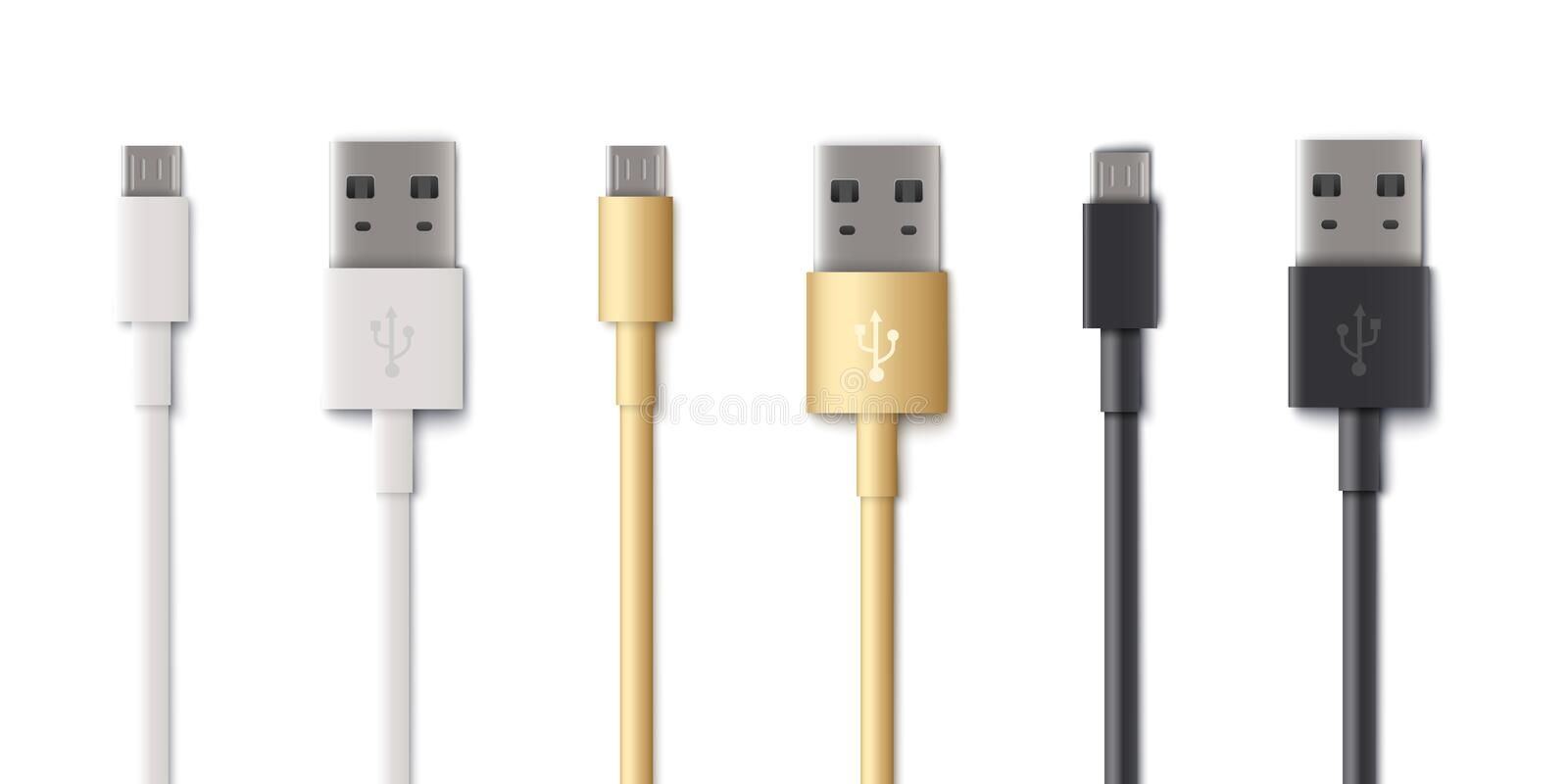 USB type A, B and type C plugs or computer cable connectors illustration isolated. Standart USB type A, B and type C plugs or universal computer cable vector illustration