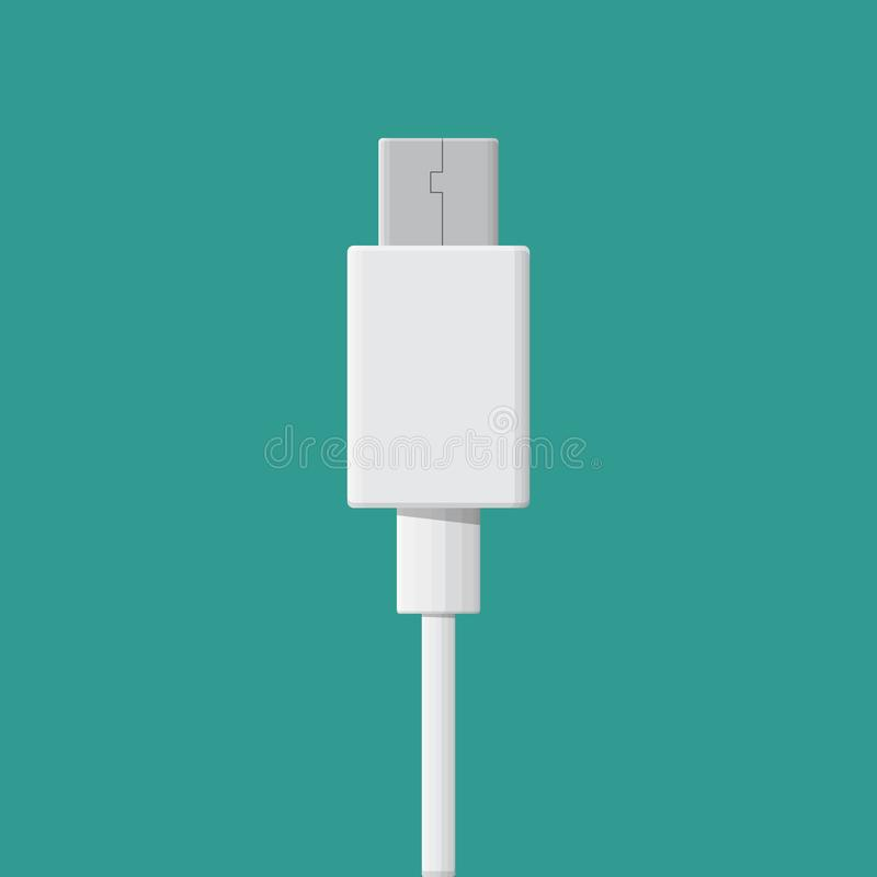 USB type-C cable. USB type-C cable vector flat design vector illustration