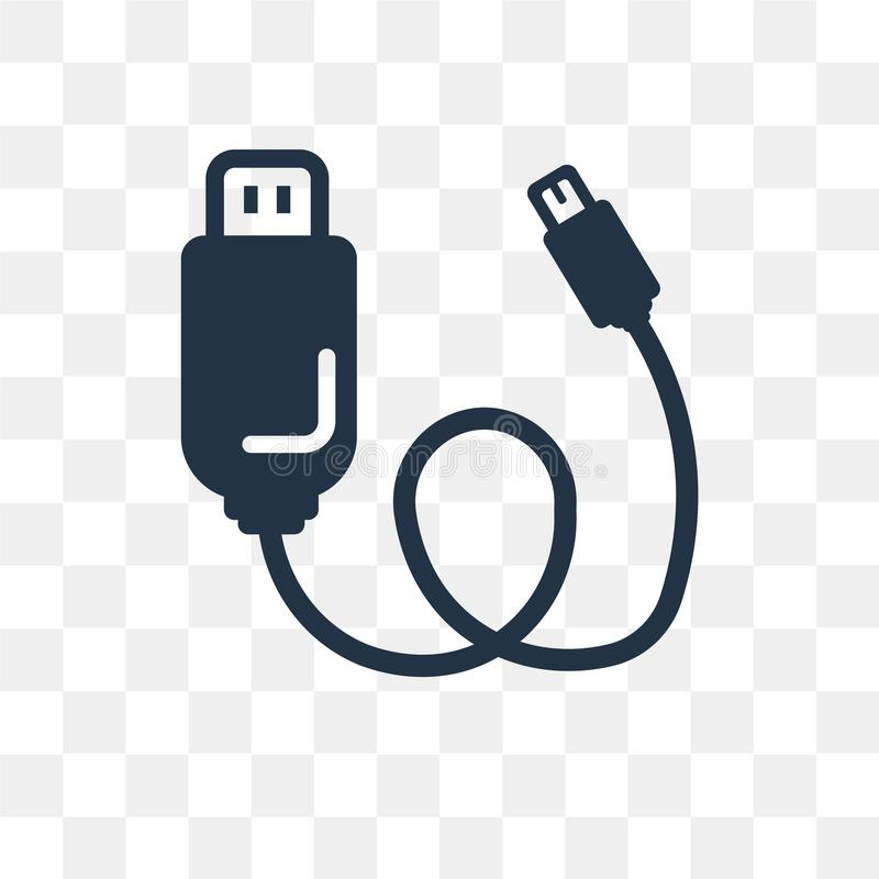 Usb vector icon isolated on transparent background, Usb transpa. Rency concept can be used web and mobile, Usb icon vector illustration