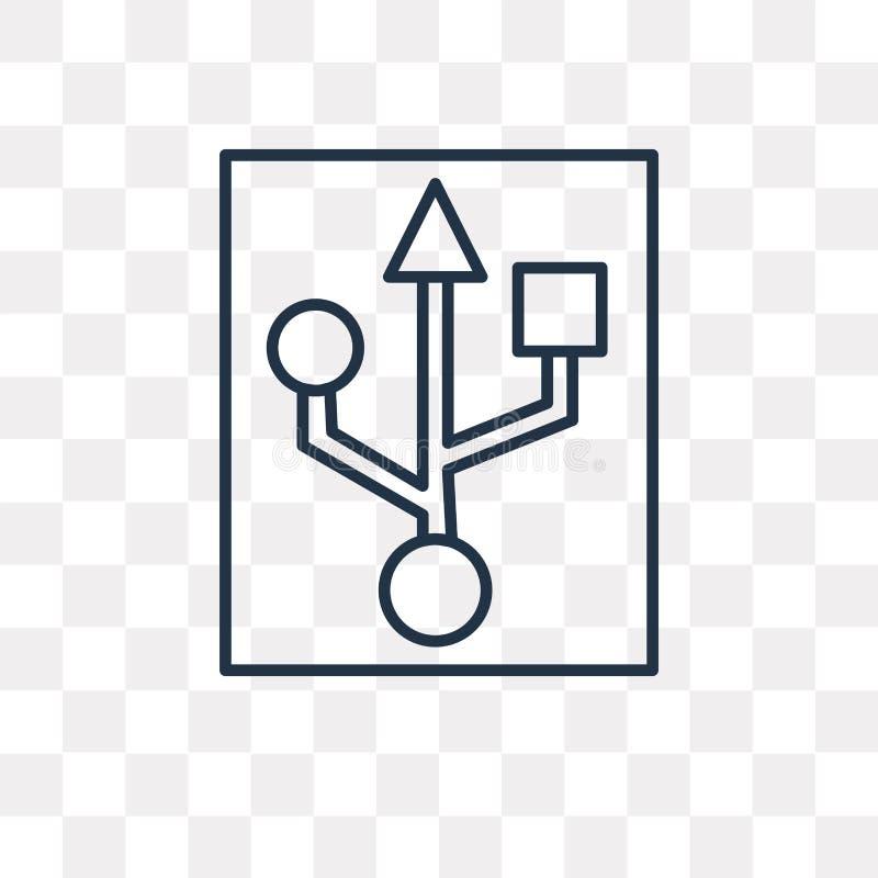 Usb wektorowa ikona odizolowywająca na przejrzystym tle, liniowy Usb t ilustracja wektor