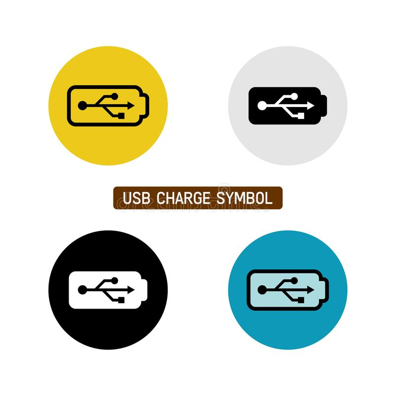USB charge symbol. USB wire battery charge symbol. Variations with different icon color vector illustration