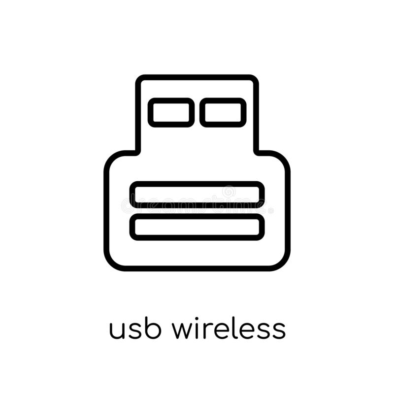 Usb wireless adapter icon from Electronic devices collection. Usb wireless adapter icon. Trendy modern flat linear vector usb wireless adapter icon on white stock illustration