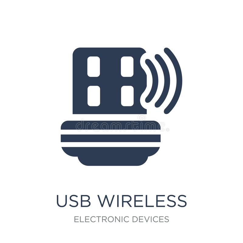 usb wireless adapter icon. Trendy flat vector usb wireless adapt royalty free illustration