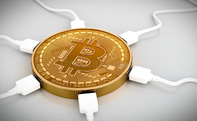 USB Wires Connected To The Bitcoin royalty free illustration
