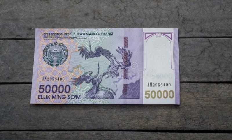 Usbekbanknoten Fünfzig tausend Usbek-Summen stockbild