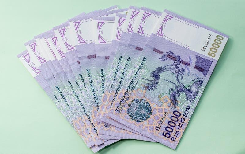 Usbekbanknoten Fünfzig tausend Usbek-Summen lizenzfreies stockbild