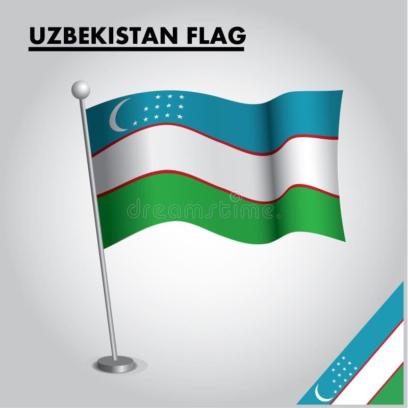 USBEKISTAN-Flagge Staatsflagge von USBEKISTAN auf einem Pfosten lizenzfreie abbildung
