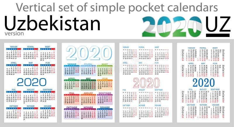 Usbequistão ajustou-se de calendários do bolso para 2020 ilustração stock