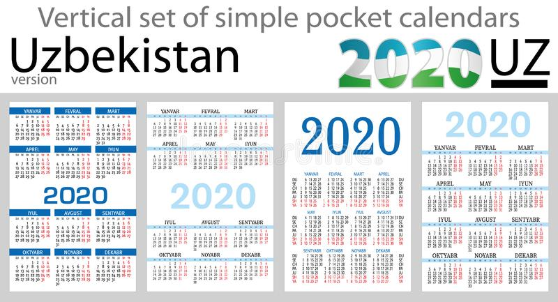Usbequistão ajustou-se de calendários do bolso para 2020 ilustração do vetor