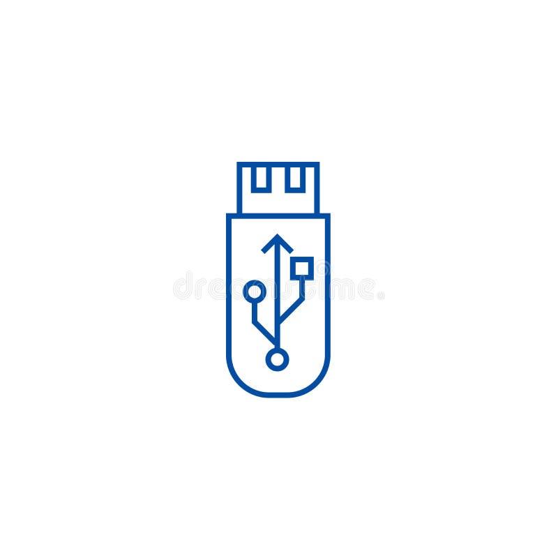 Usbflits Het concept van het de lijnpictogram van de geheugenkaart Usbflits Het vlakke vectorsymbool van de geheugenkaart, teken, royalty-vrije illustratie