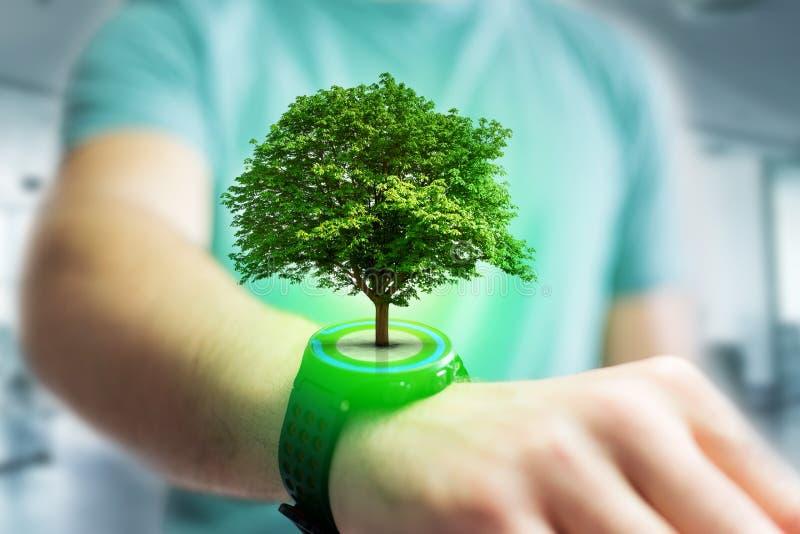 Uscire verde di uno smartphone - concetto dell'albero di ecologia fotografia stock libera da diritti