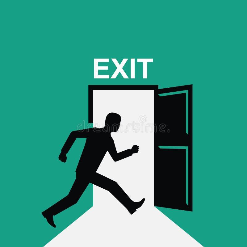 Uscita del segno L'uomo della siluetta si imbatte nella porta aperta illustrazione vettoriale
