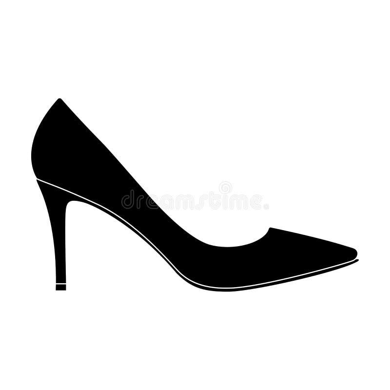 Uscita delle scarpe highheeled delle donne di colore in un vestito Le scarpe differenti scelgono l'icona nelle azione nere di sim illustrazione di stock