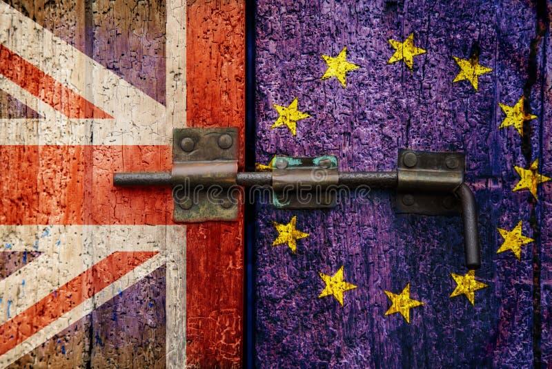 Uscita Regno Unito di Brexit UE e bandiera di UE fotografie stock libere da diritti